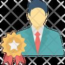 Best Seller Badge Business Winning Businessman Wearing Award Badge Icon