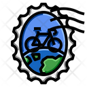 Bicycle World Stamp Icon
