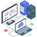 Big Data Connection Cloud Database Connection Data Server Hosting Icon