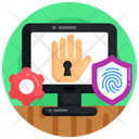 Cybersecurity Biometric Access Cyber Protection Icon