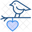Heart Valentines Day Bird And Heart Icon