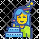 Birthday Girl Woman Celebration Icon
