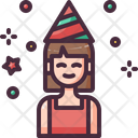 Birthday Girl Caucasian Party Hat Icon