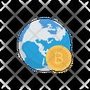 Bitcoin World Earth Icon