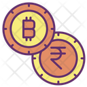 Bitcoin And Rupees Icon