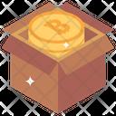 Bitcoin Box Cryptocurrency Box Bitcoin Cardboard Icon
