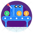 Blockchain Conveyor Bitcoin Conveyor Crypto Production Icon