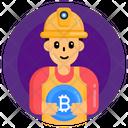 Bitcoin Worker Bitcoin Miner Bitcoin Labour Icon