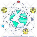 Global Business Digital Business Bitcoin Network Icon
