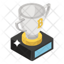 Bitcoin On Trophy Winning Cup Bitcoin Triumph Icon