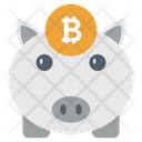 Bitcoin Piggy Piggy Bank Money Savings Icon