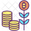 Bitcoin Plant And Coins Icon
