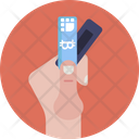 Bitcoin Label Hand Icon