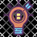 Bulb Light Target Bitcoin Target Bitcoin Idea Icon