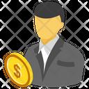 Bitcoin Trader Cryptocurrency Trader Bitcoin Businessman Icon