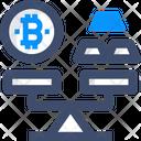 Bitcoin Vs Gold Bitcoin Vs Gold Bitcoin And Gold Measure Icon