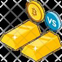 Bitcoin Vs Gold Investment Concept Btc Vs Gold Icon