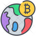 Bitcoin Cryptocurrency Globe Icon