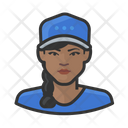 Black Female Baseball Player Baseball Caps Icon