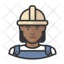 Black Female Workers Construction Black Icon