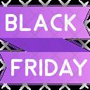Black Friday Ribbon Offer Tag Icon