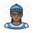 Hipster Beanie Woman Icon