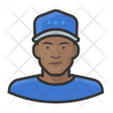 Black Male Baseball Player Baseball Caps Icon