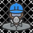 Black Male Worker Asbestos Black Icon