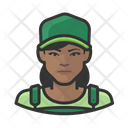 Black Woman Green Overalls Icon