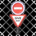 Blocked Signage Road Post Traffic Board Icon