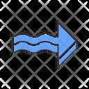 Blue 3 D Wavy Arrow Icon
