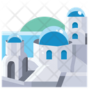Blue domed church in santorini Icon