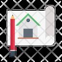 Blueprint Building House Icon