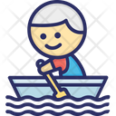 Boat Rowing Man Icon