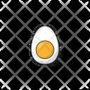 Boiled Egg Vector Icon Illustration Chicken Boiled Egg Food Half Sliced Egg Icon