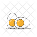 Boiled Eggs Vector Icon Illustration Chicken Boiled Eggs Food White Chicken Egg Icon
