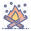Bonfire Wood Camping Icon