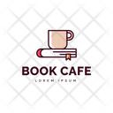 Book Cafe Hot Coffee Cafe Logomark Icon