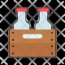 Bottle Basket Wooden Basket Milk Bottles Icon