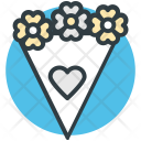 Bouquet Flowers Heart Icon
