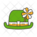 Bowler Hat With Four Leaf Clover Icon