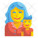 Boy And Mother Kid Baby Icon