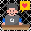 Boy Chatting On Laptop Icon