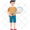 Outdoor Game Playing Tennis Sports Boy Icon