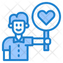 Boy With Heart Sign Man Sign Icon