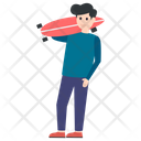 Boy With Skateboard Icon