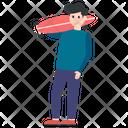 Boy With Skateboard Skateboard Game Outdoor Game Icon