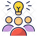 Guys With Ligh Bulb Brainstorming Business Idea Icon