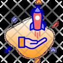 Brand Development Rocket Startup Icon
