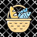 Bread And Fish In Basket Bread Fish Icon